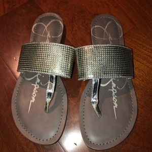 Jessica Simpson flat sandals silver sparkle 7size